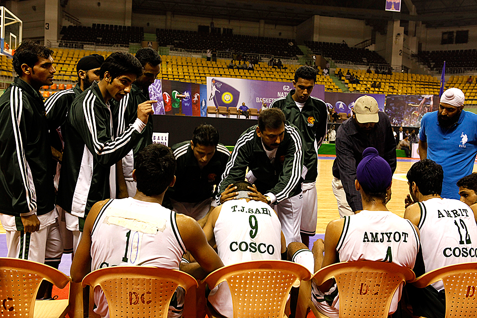 Time out final game of 62nd National Basketball Championships in Chennai, India